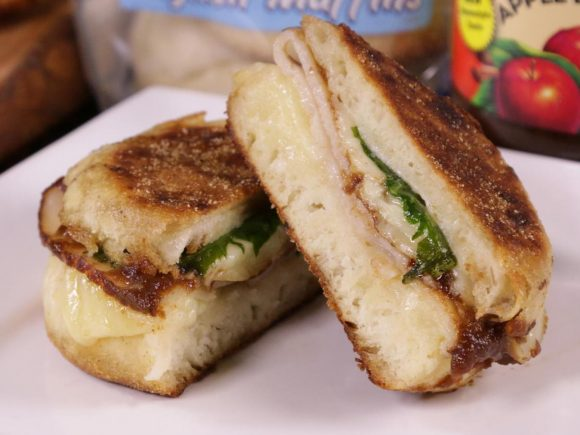 Turkey, Spinach Grilled Cheese with Apple Butter English Muffin