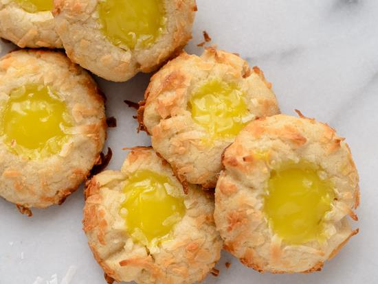 Lemon Coconut Thumbprint Cookies