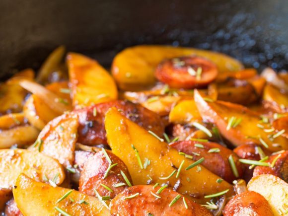 Kielbasa Apple Onion Skillet